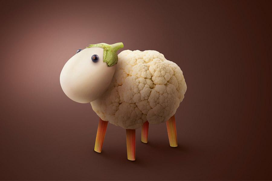 Mouton choux-fleur, aubergine, campagne Léguriviera